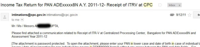 Email receipt of your ITR-V electronic return filing