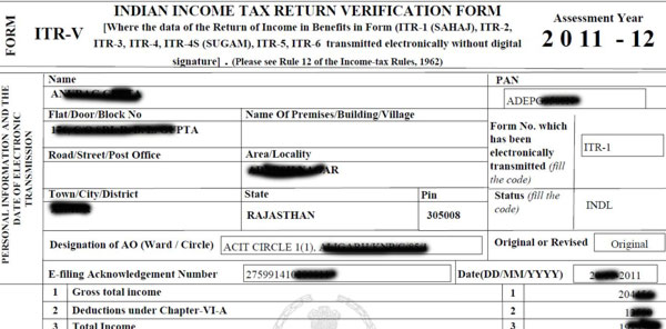ITR-V Receipt of your IT return