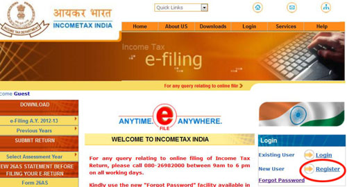 income tax efiling website home page