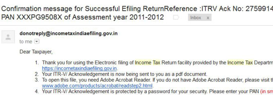Confirmation email of your success return filing