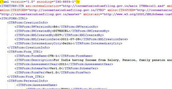 XML format of your sample return